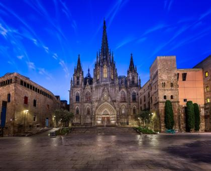 Angels Flying in front of the Cathedral of the Holy Cross and Saint Eulalia, Barcelona, Catalonia, Spain